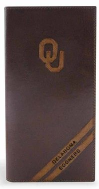 ZEP-PRO NCAA Oklahoma Sooners Men's Pull-Up Leather Long Secretary Embossed Wallet, Brown, One Size