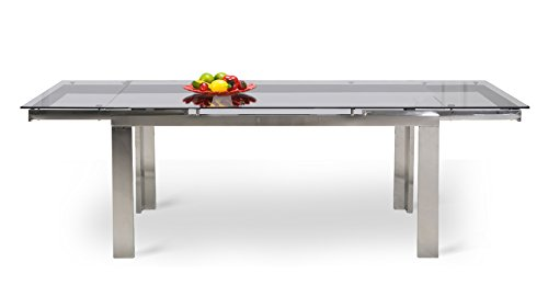 Amazon Com Enzo Expandable Modern Dining Table With Glass Top Tables