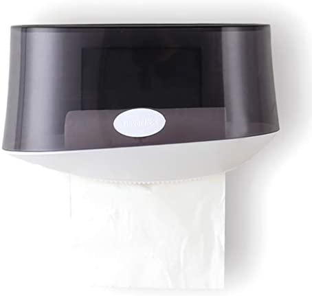 LFOZ Gewebe-Kasten WC Badezimmer-Gewebe-Kasten Freie Punching Fach Multifunktions-Rack Tissue Box Cover Gesicht (Color : Black)