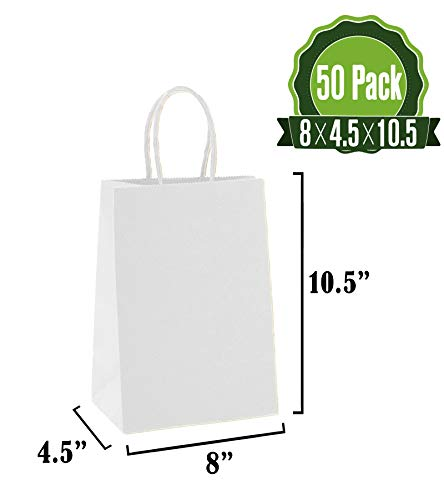 White Kraft Paper Gift Bags Bulk with Handles 50Pc [ Ideal for Shopping, Packaging, Retail, Party, Craft, Gifts, Wedding, Recycled, Business, Goody and Merchandise Bag]