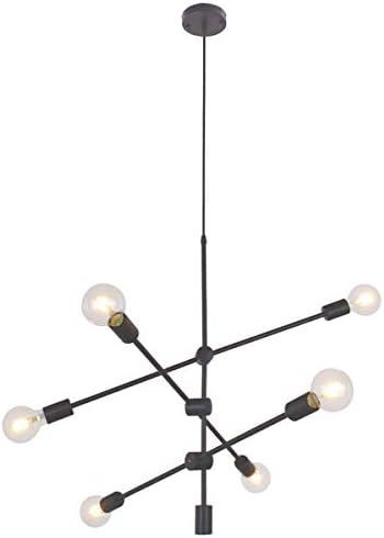 BAODEN 6 Lights Matte Black Chandelier Light Fixture Contemporary Sputnik Pendant Light Modern Flush Mount Hanging Lamp