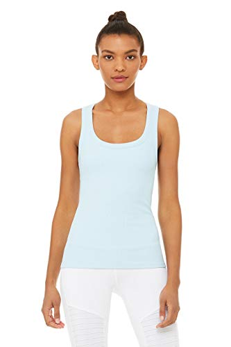 (ALO Women's Rib Support Tank Top Powder Blue Large)