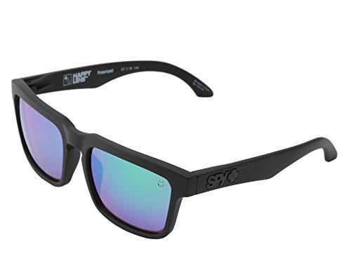 Spy Helm Sunglasses Matte Black w/ Bronze Polar with Green Spectra Polarized Lens + - Helm Optic Spy