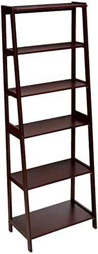 AmazonBasics Classic 5-Shelf Open Bookcase Organizer with Solid Rubber Wood Frame – Espresso