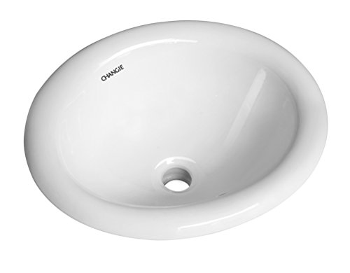 CHANGIE 1004W Bathroom Top Mount Vanity Sink Porcelain Drop in Basin,White,17x15 inches