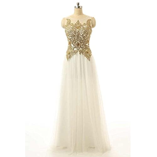 HarveyBridal Womens Gold Lace Evening Dress Long White Prom Dress Tulle Homecoming Party Dress.