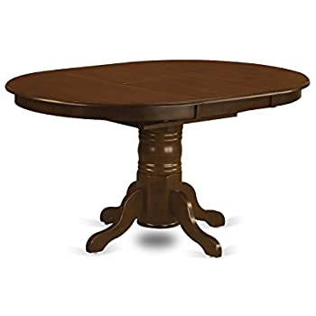 East West Furniture KET ESP TP Kenley Oval Single Pedestal Dining Table With 18 Butterfly Leaf 42 X 60
