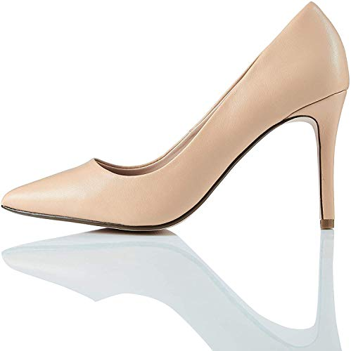 Marca Amazon – find. Point High Heel Leather Court – Zapatos de Tacón Mujer