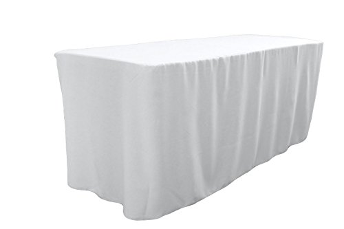 la linen polyester poplin fitted tablecloth for 6 foot table white home garden linens bedding. Black Bedroom Furniture Sets. Home Design Ideas