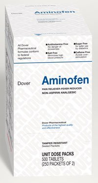 325 Mg 250 Tablets - 3502529 PT# 1625303 Aminofen Acetaminophen Tablet 325mg 2s Indust 250x2/Bx Made by Medique Pharmaceuticals