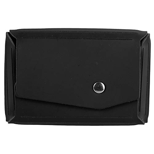 JAM PAPER Italian Leather Business Card Holder Case with Angular Flap - Black - Sold Individually
