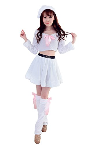 YFFaye Women's White Nightclub Sexy Cute Girls Role-Playing Christmas Costume