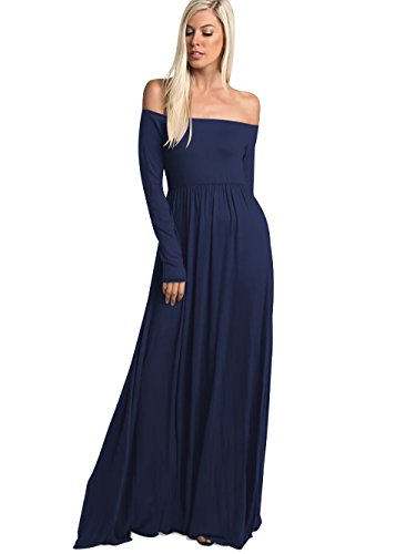 Amoretu Women's Casual Off The Shoulder Long Sleeve Maxi Dress with Pockets