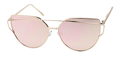 Basik Eyewear - Ultra Sleek Full Metal Crossbar Aviator Flash Mirror Lens CatEye Sunglasses (Rose Gold, 5 - Style Sunglasses Kim K