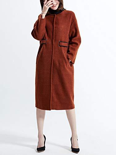 Col Bouton Uni Rond Automne Paletot Longues Bigood Caramel Femme Couleur Manteau Manches 1vwZ0A