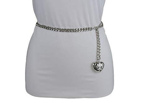 Women Hip Waist Silver Metal Chain Fashion Belt Love Heart Buckle Charm XS S M by RIX Fashion Luxury (Image #3)'