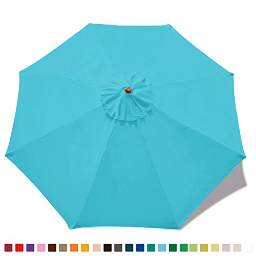 MasterCanopy (30+ Colors) 9ft Market Round Umbrella Adjustment Replacement Canopy 8 Ribs(Canopy Only) (Sky Blue)
