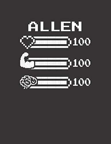 ALLEN: Pixel Retro Game 8 Bit Design Blank Composition Notebook College Ruled, Name Personalized for Boys & Men. Gaming Desk Stuff for Gamer Boys. ... Gift. Birthday & Christmas Gift for Men.