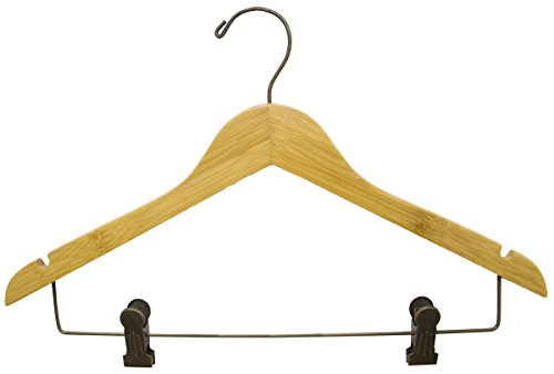 Skirt Pant 17'' Dark Bamboo Combo Hanger Deluxe Clips Notches Rubber Strips Display Lot of 100 New by Bentley's Display
