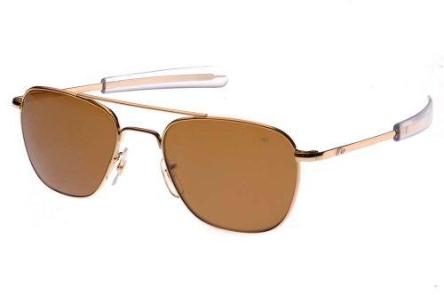 AO Original Pilot Sunglasses, Gold, Bayonet, Brown Glass Lens, 52mm, Polarized - Pilot Ao Original Military Sunglasses