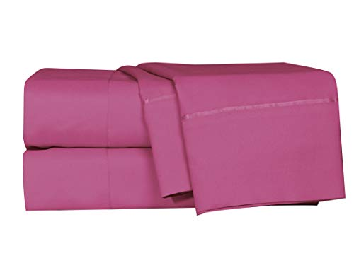 LUSH HOME Bedsheets & Pillow Cases - 4pcs - Twin Mattress- Super Soft - Fits Extra Thick Mattress Deep Pocket, Wrinkle & Fade Resistant - 4 pc Set - Size Twin, Magenta