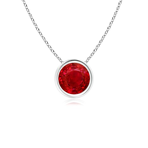 Bezel-Set Round Ruby Solitaire Pendant in Platinum (6mm Ruby) ()