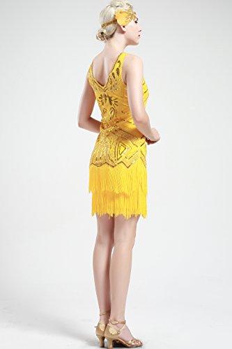 V Robes 1920 Perles robe des Grande annes femme BABEYOND frises Gatsby Neck Jaune Flapper tZdFxwq