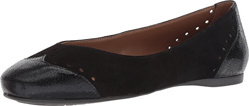 Flats Suede French Sole (French Sole Women's Civil Flat Black Suede Metallic 9 M US)