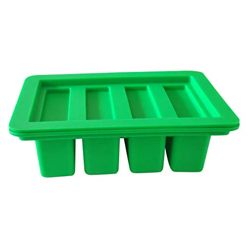 HONEYYE Silicone Butter Mold Tray Container for Butter Pudding Soap Chocolate Ice Cube 4 Cavity Rectangle (Green)