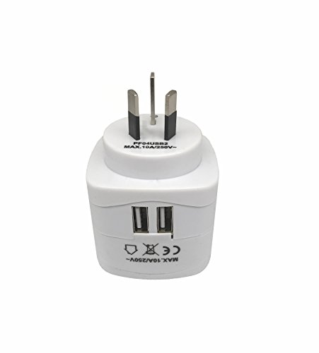 Sycon All-in-One International Travel Plug Adapter with Dual USB Ports (UP-9KU) - Great for iPhone/Smartphones/Laptops & More (US/EU/UK/AU Adapter/W USB) by Sycon (Image #6)