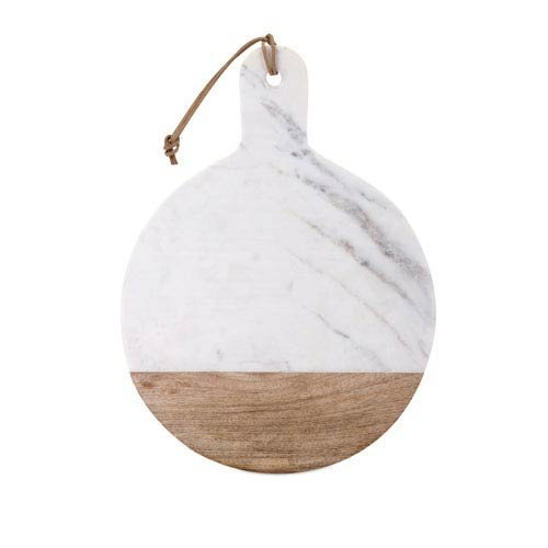 IMAX 82514 Peyton Marble and Wood Cheese Board, White