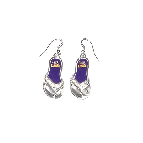 LSU Tigers 1.25 Inch Licensed Silver Toned Flip Flop Earrings ()