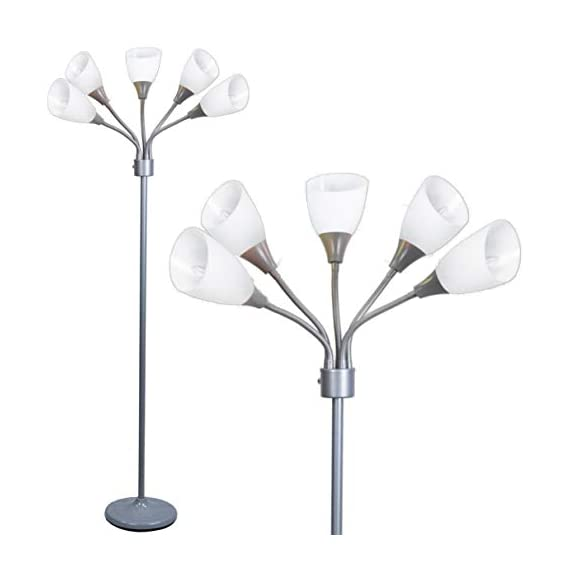 Modern Floor Lamp Room Light by Lightaccents - Medusa Multi Head Standing Lamp Bedroom Light with 5 Positionable White Acrylic Reading Shades Room Light (Grey) - GOOSENECK FLOOR LAMP WITH WHITE ACRYLIC SHADES: Made from durable metal with a painted Grey finish, this floor lamp features white shades offering a modern style. PERFECT FOR USE AS A LIVING ROOM FLOOR LAMP, KID'S ROOM FLOOR LAMP, OR DORM ROOM ADJUSTABLE FLOOR LAMP: The white shades give this floor lamp a unique look and make it perfect for use in any kid's room, living space, or dorm room. FLEXIBLE FLOOR LAMP, KID'S ROOM FLOOR LAMP, OR DORM ROOM FLOOR LAMP: The multicolored shades give this floor lamp a unique look and make it perfect for use in any kid's room, living space, or dorm room.ADJUSTABLE GOOSENECK - living-room-decor, living-room, floor-lamps - 316%2B9VOmpYL. SS570  -