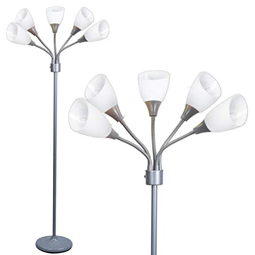 Floor Lamp by Light Accents - Medusa 5 Light Standing Lamp - Multi Head Standing Lamp with 5 Adjustable White Acrylic Reading Lamps - Lamps for Living Room ()