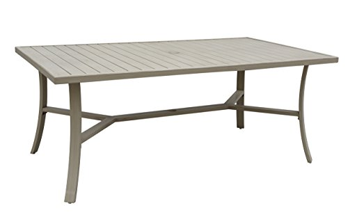 Rectangle Outdoor Dining Table - Courtyard Casual Camel Torino Aluminum Outdoor Rectangle Dining Table