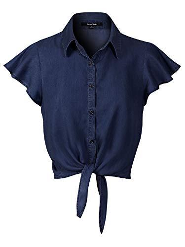 (Instar Mode Women's Short Ruffle Sleeve Tie Knot Front Button Down Chambray Shirts Dark Denim L)