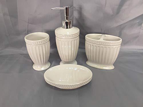 Luxury Home Fashion 4 Piece Elegant Bathroom Accessory Set: Soap Dispenser Pump, Toothbrush Holder, Tumbler, Soap Dish #901 (Pearl White)