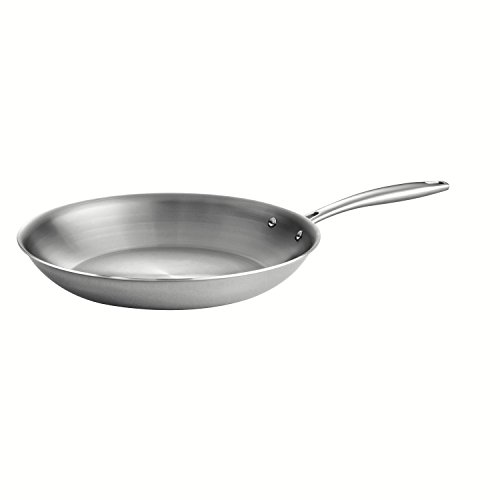 Tramontina 80116/007DS Gourmet Stainless Steel Induction-Ready Tri-Ply Clad Fry Pan, 12-Inch, NSF-Certified, Made in Brazil Aluminum Stainless Steel Skillet