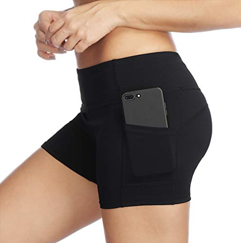 THE GYM PEOPLE Compression Short Yoga Shorts Women Power FlexRunning Fitness Shorts with Pockets (Medium, Black) by THE GYM PEOPLE (Image #1)