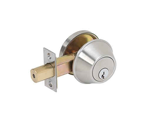 Tell Manufacturing CL100055 Single Cylinder Deadbolt, Satin Stainless Steel
