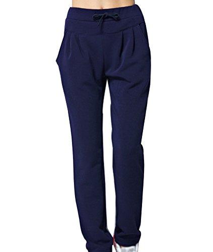 Casual Sportivi Con Blu Jogger Pantaloni Pantaloni Pantaloni Tasche Lunghi Donna scuro Elastico wqUY08vwF