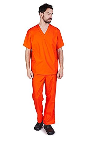 Old Time Prisoner Costumes - NATURAL UNIFORMS Men's Scrub Set Medical Scrub Top and Pants (XS,