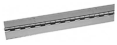 """72"""" Long x 2-1/2"""" Wide, 1"""" Knuckle, Steel Continuous Hinge, 3/16"""" Pin Diam, 0.075"""" Thick without Holes"""