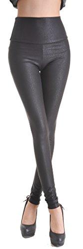 Bill & Candy Women's Leather looking High Waisted Leggings - Snake skin pattern - M (Snake Skin Pattern)