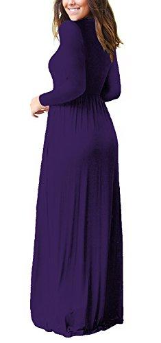 Swing Long Purple OFEEFAN Casual Loose Maxi Dress Pleated Pockets Sleeve Women's awxHFY