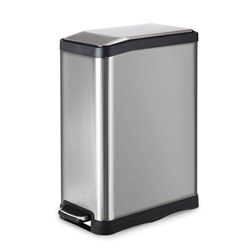 (Home Zone Stainless Steel Kitchen Trash Can with Rectangular Design and Step Pedal | 45 Liter / 12 Gallon Storage with Removable Plastic Trash Bin Liner, Silver)