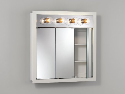 Jensen 755371 Granville Lighted Medicine Cabinet with Four Bulbs, Classic White, 30-Inch by 30-Inch by 4-3/4-Inch by Jensen