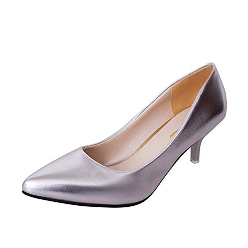 (Women Shoes Nude Hollow Mouth Sexy Fashion Wedding Pumps Office High Heels Casual Shoes for Elegant Ladies Female Style 2 Silver 6)