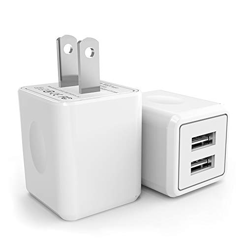 USB Wall Charger,Canyso 2Pack 2.1A/5V Dual Port USB Power Adapter Travel Plug Cube for iPhone X/8/7/6 Plus/SE/5S/4S,iPad,iPod,Samsung Galaxy S7/S6/S5 Edge,LG,HTC,Huawei,Moto,Kindle and More (5 Iphone Adapter Usb Power)