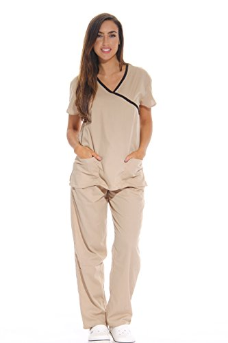 11131W Just Love Women's Scrub Sets / Medical Scrubs / Nursing Scrubs - Large,Khaki With Black Trim,Khaki With Black Trim,Large